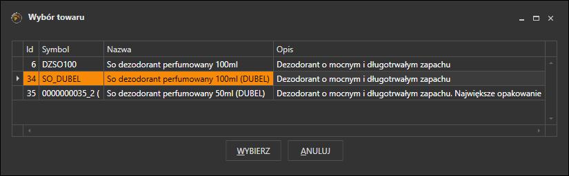 Okno wyboru towaru z tym samym kodem kreskowycm w Subiekcie GT