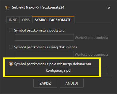 Ustawienia przetwarzania dokumentu Subiekta GT na etykietę InPost Paczkomaty
