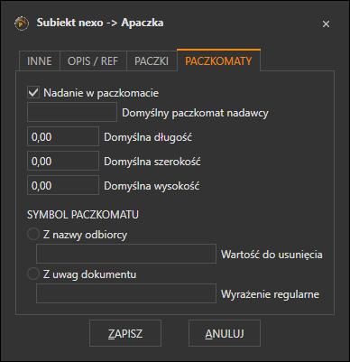 Konfiguracja parametrów listu do paczkomatów przygotowywanych przez Apaczkę
