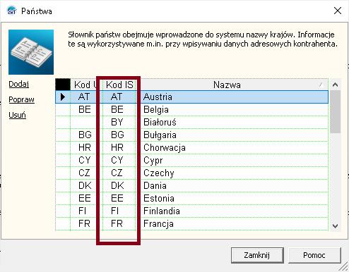 Kody ISO Państw w Subiekcie GT