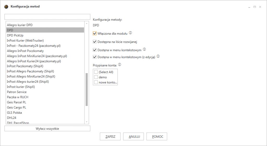 ProstaPaczka2 okno w którym można włączać lub wyłączać sposoby wysyłki w programie do automatycznego generowania listów przewozowych
