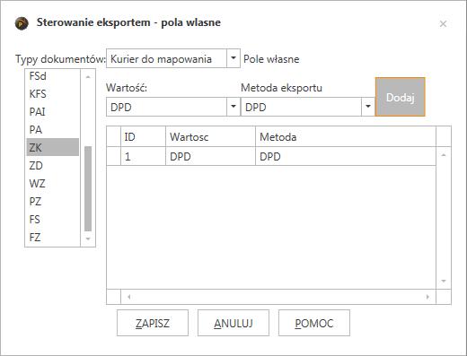 ProstaPaczka2 okno konfiguracji mapowania pól własnych na metodę wysyłki w programie do automatycznego generowania listów przewozowych