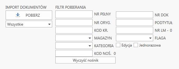 Subiekt GT kompletacja na kolektorze danych, widok okna filtrowania dokumentów z nośnika w aplikacji ProstaPaczka