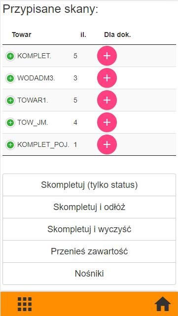 Subiekt GT kompletacja na kolektorze danych, widok okna przypisane skany do nośnika w aplikacji PP Kolektor