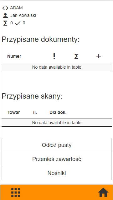Subiekt GT kompletacja na kolektorze danych, widok okna nośnika z rozliczonymi dokumentami w aplikacji PP Kolektor