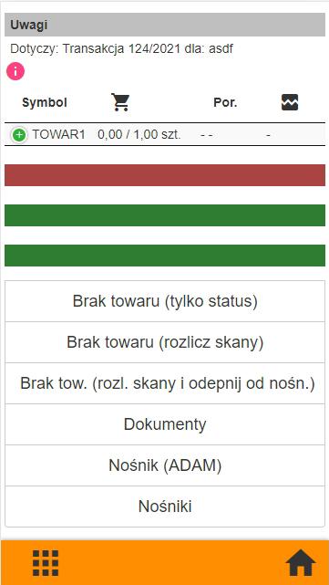 Subiekt GT kompletacja na kolektorze danych, widok okna lista dokumentów - brak towaru - statusy w aplikacji PP Kolektor