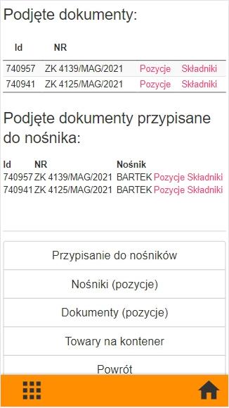 Subiekt GT kompletacja na kolektorze danych, widok okna po podjęciu dokumentów w aplikacji PP Kolektor